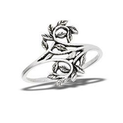 Sterling Silver Intertwined Leaves Ring