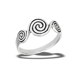 Sterling Silver Triple Swirl Ring