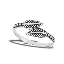 Sterling Silver Dueling Leaves Ring