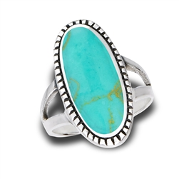 Sterling Silver Bali Style Ring With Granulation And Synthetic Turquoise