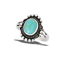 Sterling Silver Braided Ring With Synthetic Turquoise And Granulation