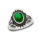 Sterling Silver Braided Ring With Synthetic Emerald And Granulation