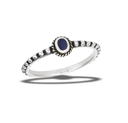 Sterling Silver Beaded And Braided Synthetic Lapis Ring