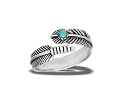 Sterling Silver Adjustable Feather Ring With Synthetic Turquoise