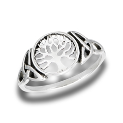 Sterling Silver Tree Of Life Ring With Side Triquetras
