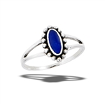 Oval Ring With Granulation And Synthetic Lapis