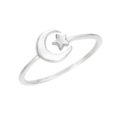 Sterling Silver Crescent And Star Ring