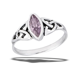 Sterling Silver Celtic Ring With Pink CZ