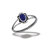 Sterling Silver Bali Style Ring With Synthetic Lapis