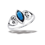 Sterling Silver Celtic Heart Ring With Synthetic Sapphire