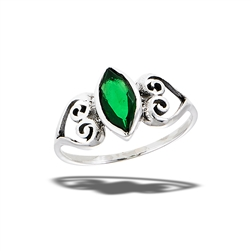 Sterling Silver Celtic Heart Ring With Synthetic Emerald