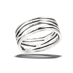 Sterling Silver Modern Line Design Ring