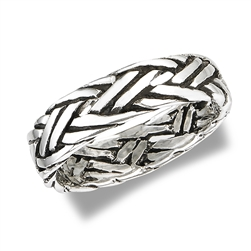 Sterling Silver Bali Style Heavy Rope Ring
