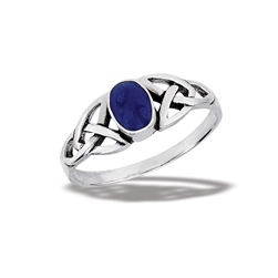 Sterling Silver Celtic Ring With Synthetic Lapis