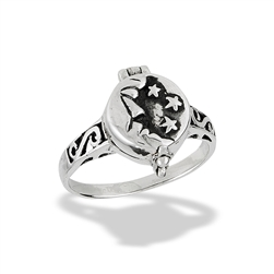 Sterling Silver Moon And Stars Poison Ring (Opens)