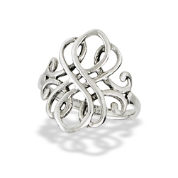 Sterling Silver Fancy Swirl Celtic Ring