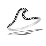 Sterling Silver Granulated Dot Wave Ring