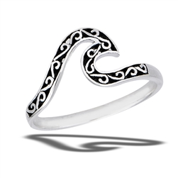 Sterling Silver Filigree Wave Ring