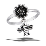 Sterling Silver Bumble Bee Hovering Near Sunflower Ring