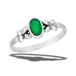 Sterling Silver Bali Style Ring With Synthetic Emerald