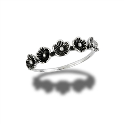 Sterling Silver Five Flowers Ring