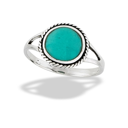Sterling Silver Double Pronged Synthetic Turquoise Ring
