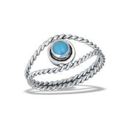 Sterling Silver Synthetic Turquoise Ring With Double Braided Shank