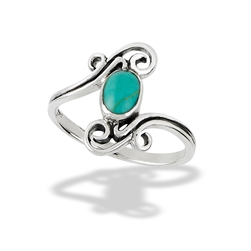 Sterling Silver Synthetic Turquoise Ring With Double Swirl Accent