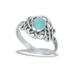 Sterling Silver Endless Celtic Knot Ring With Synthetic Turquoise