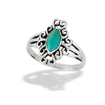 Sterling Silver Filigree Ring With Synthetic Turquoise