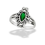 Sterling Silver Filigree Ring With Simulated Emerald