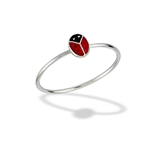 Sterling Silver Ladybug Ring With Red And Black Enamel