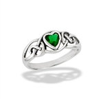 Sterling Silver Celtic Heart Ring With Simulated Emerald