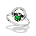 Sterling Silver Rounded Claddagh Ring With Synthetic Emerald