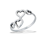 Sterling Silver Four Dancing Hearts Ring