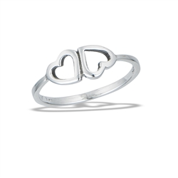 Sterling Silver Inverted Hearts Ring