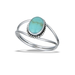 Sterling Silver Braided Oval Ring With Synthetic Turquoise
