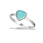 Sterling Silver High Polish Triangle Ring With Synthetic Turquoise