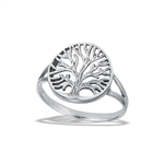 Sterling Silver Tree Of Life With Detailed Bark Ring