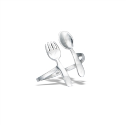 Sterling Silver High Polish Adjustable Fork And Spoon Ring