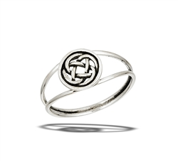 Sterling Silver Round Celtic Ring