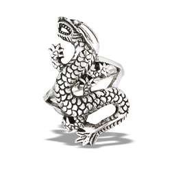 Sterling Silver Heavy Dragon Ring