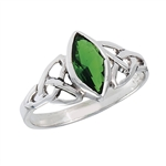 Sterling Silver Celtic Ring with Synthetic Emerald