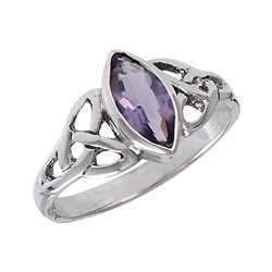 Sterling Silver Celtic Ring with Synthetic Amethyst