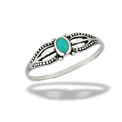Sterling Silver Granulated Dainty Ring With Synthetic Turquoise