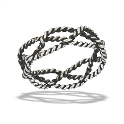 Sterling Silver Handmade Oxidized Intertwined Rope Ring
