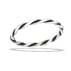 Sterling Silver Handmade Oxidized Twist Ring