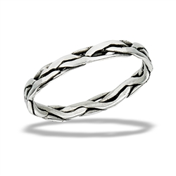 Sterling Silver Thin Random Lines Band Ring