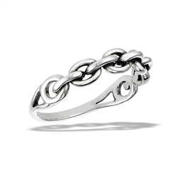 Sterling Silver Cable Link Ring