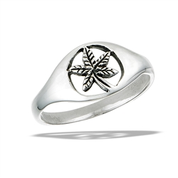 Sterling Silver Cannabis Leaf Ring